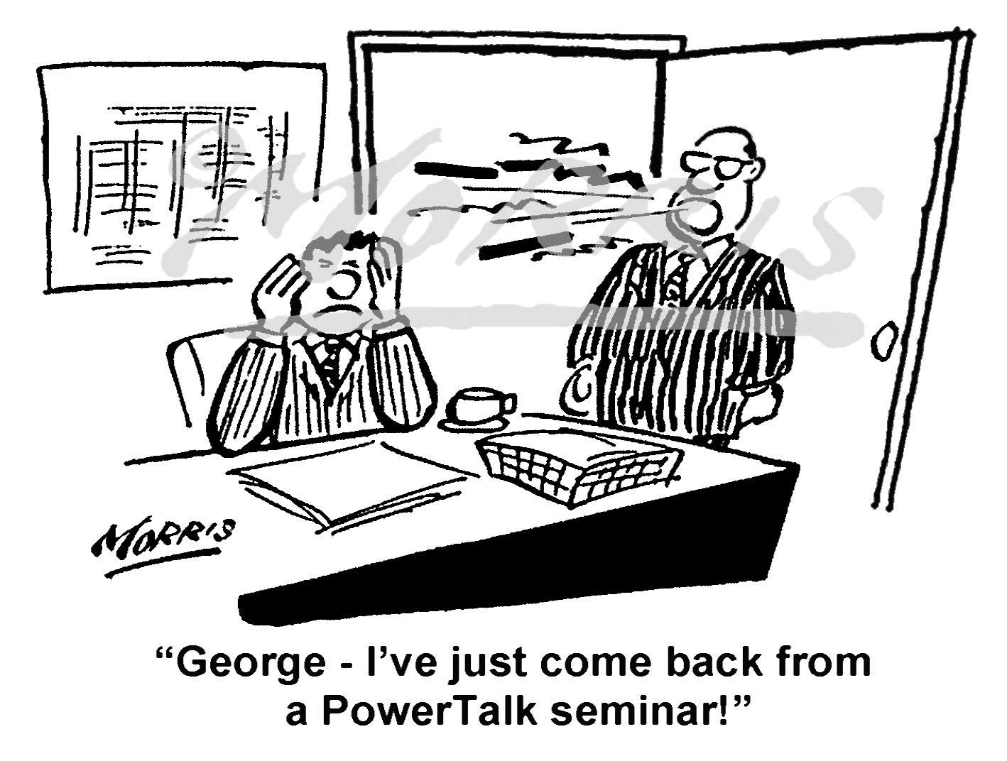 Power talk cartoon, seminar cartoon – Ref: 7392bw