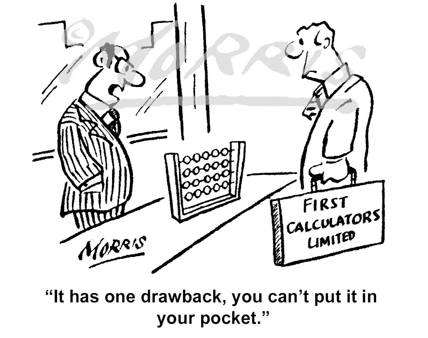 Pocket calculator comic cartoon – Ref: 7394bw
