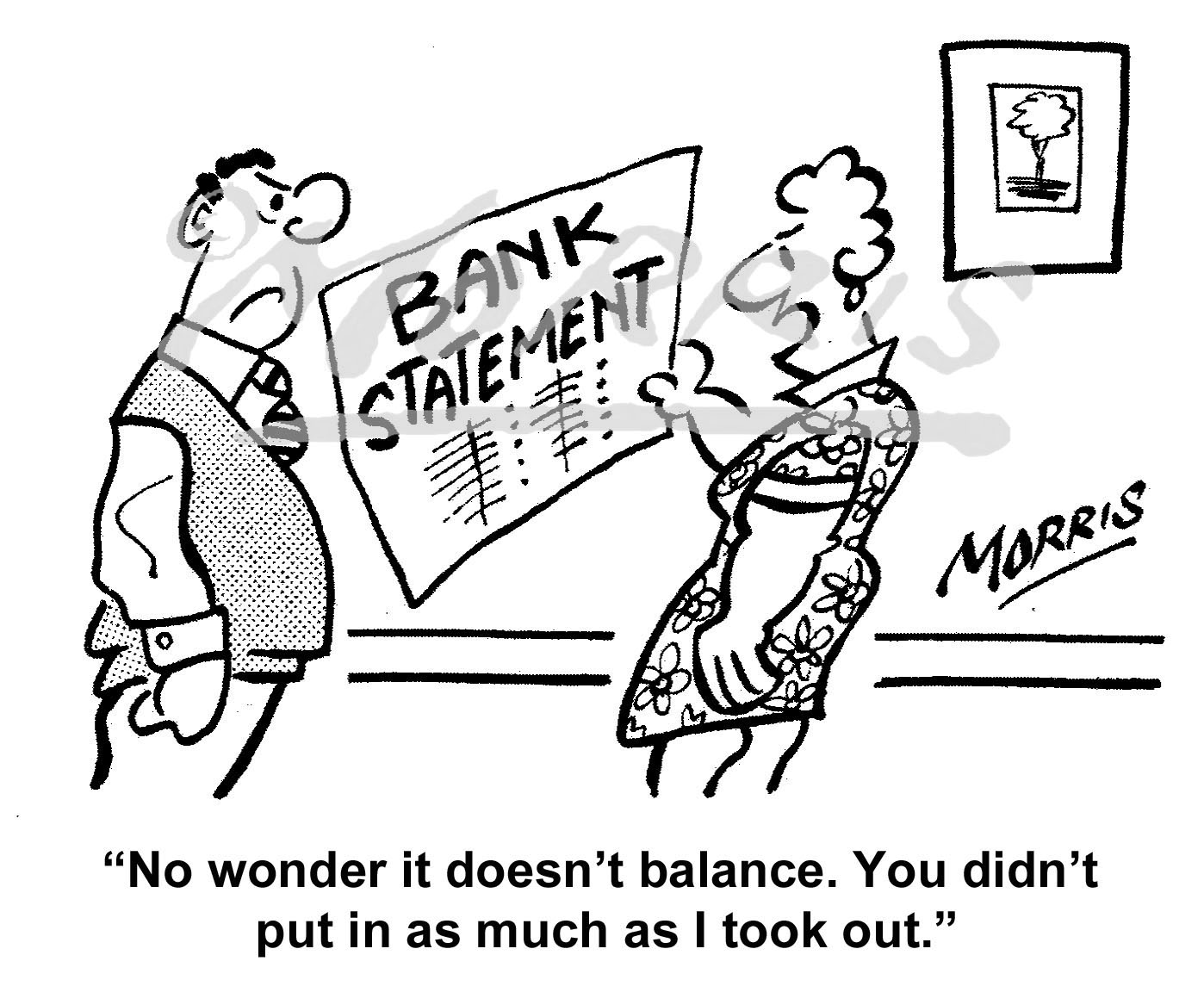 Bank statement cartoon – Ref: 7395bw