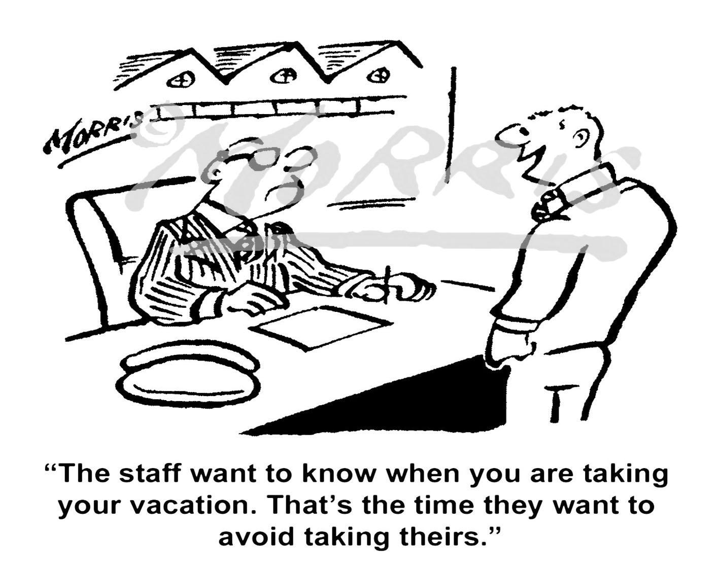 Boss cartoon, vacation comic, holiday cartoon – Ref: 7397bw