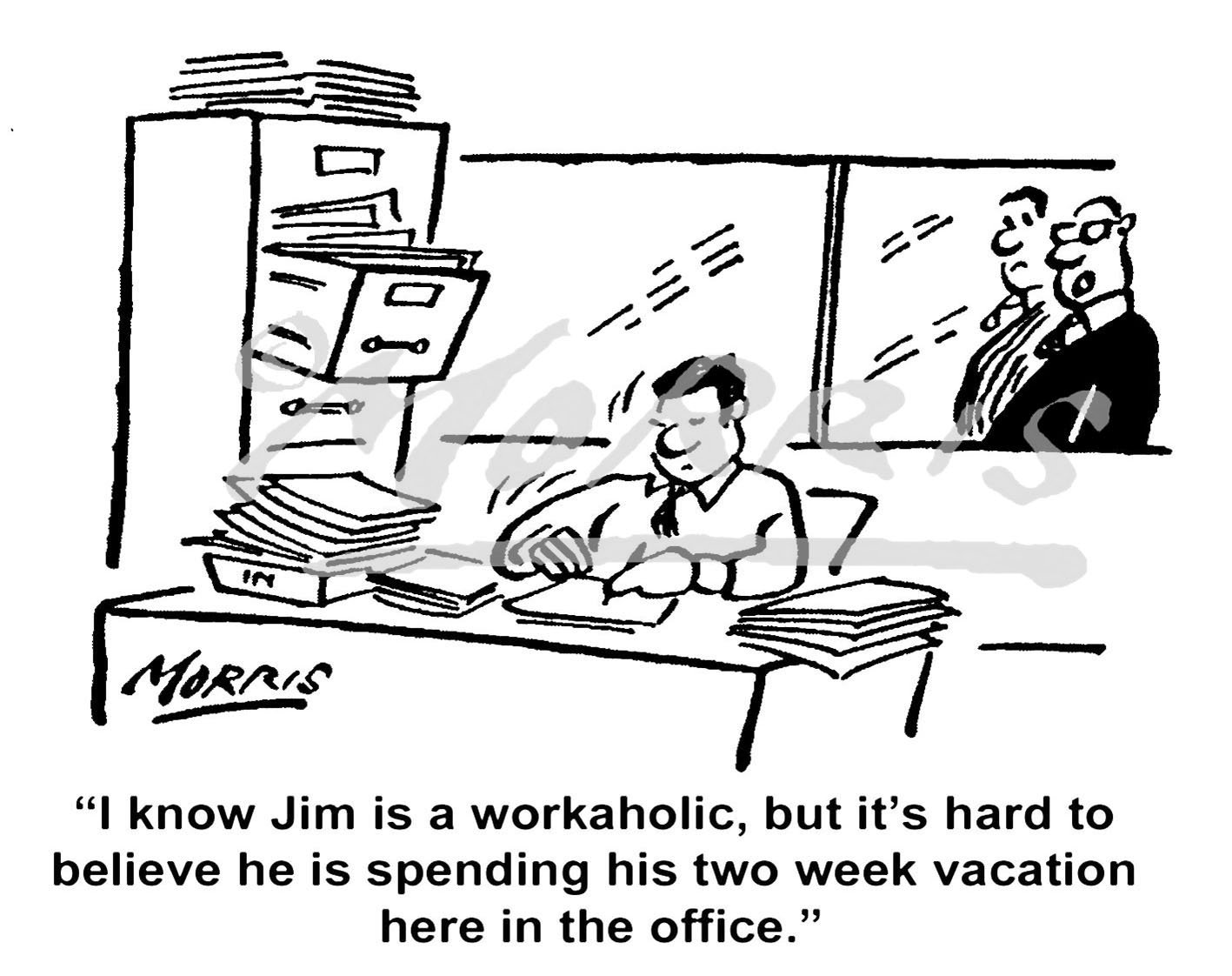 Workaholic cartoon, vacation comic, holiday cartoon – Ref: 7401bw