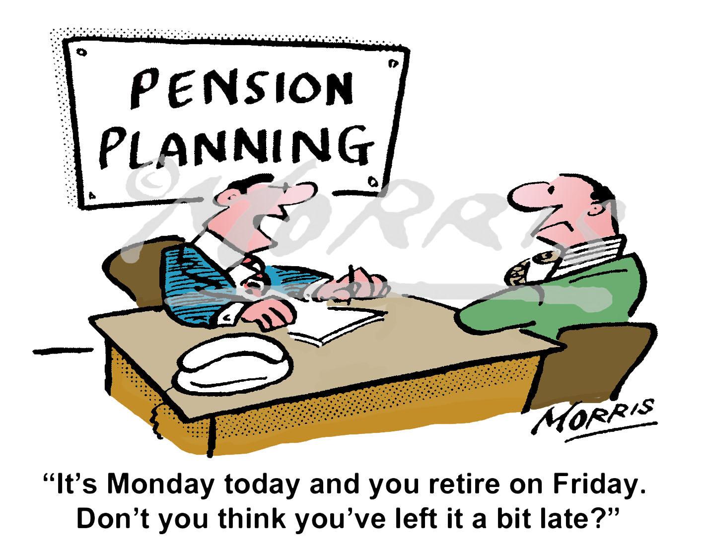 Pension cartoon, retirement cartoon – Ref: 7413col