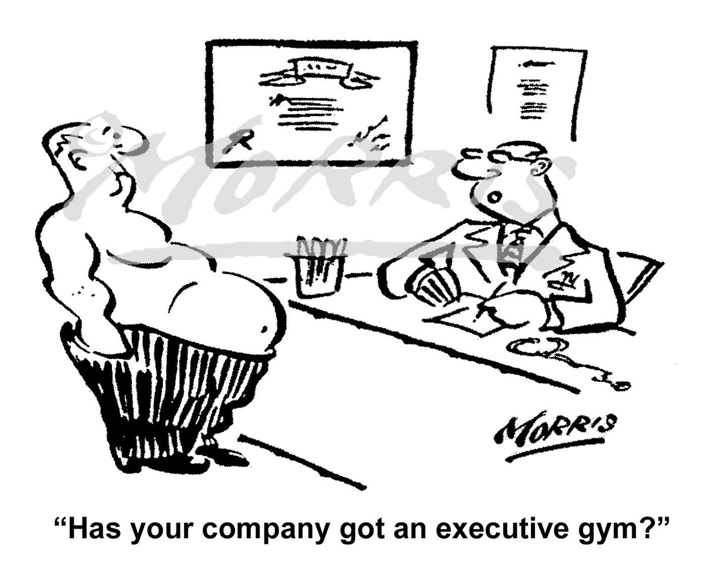 Executive gym cartoon – Ref: 7426bw