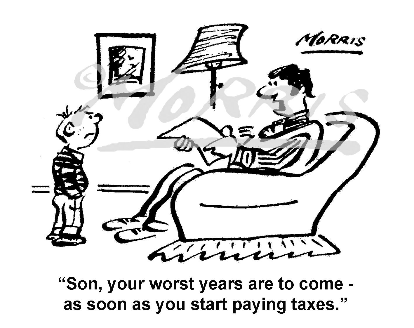 Personal finance tax cartoon – Ref: 7492bw