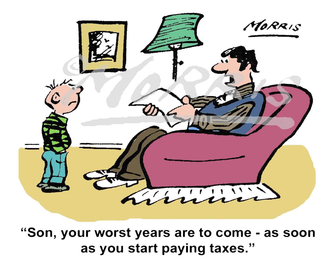 Personal finance cartoon, tax cartoon – Ref: 7492col