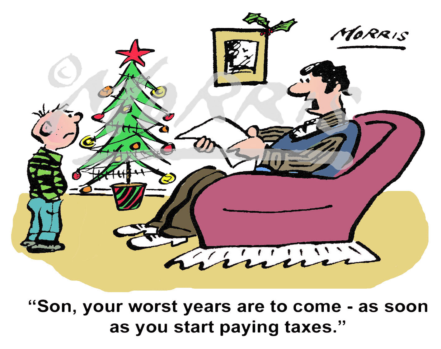 Christmas tax cartoon – Ref: 7492colch
