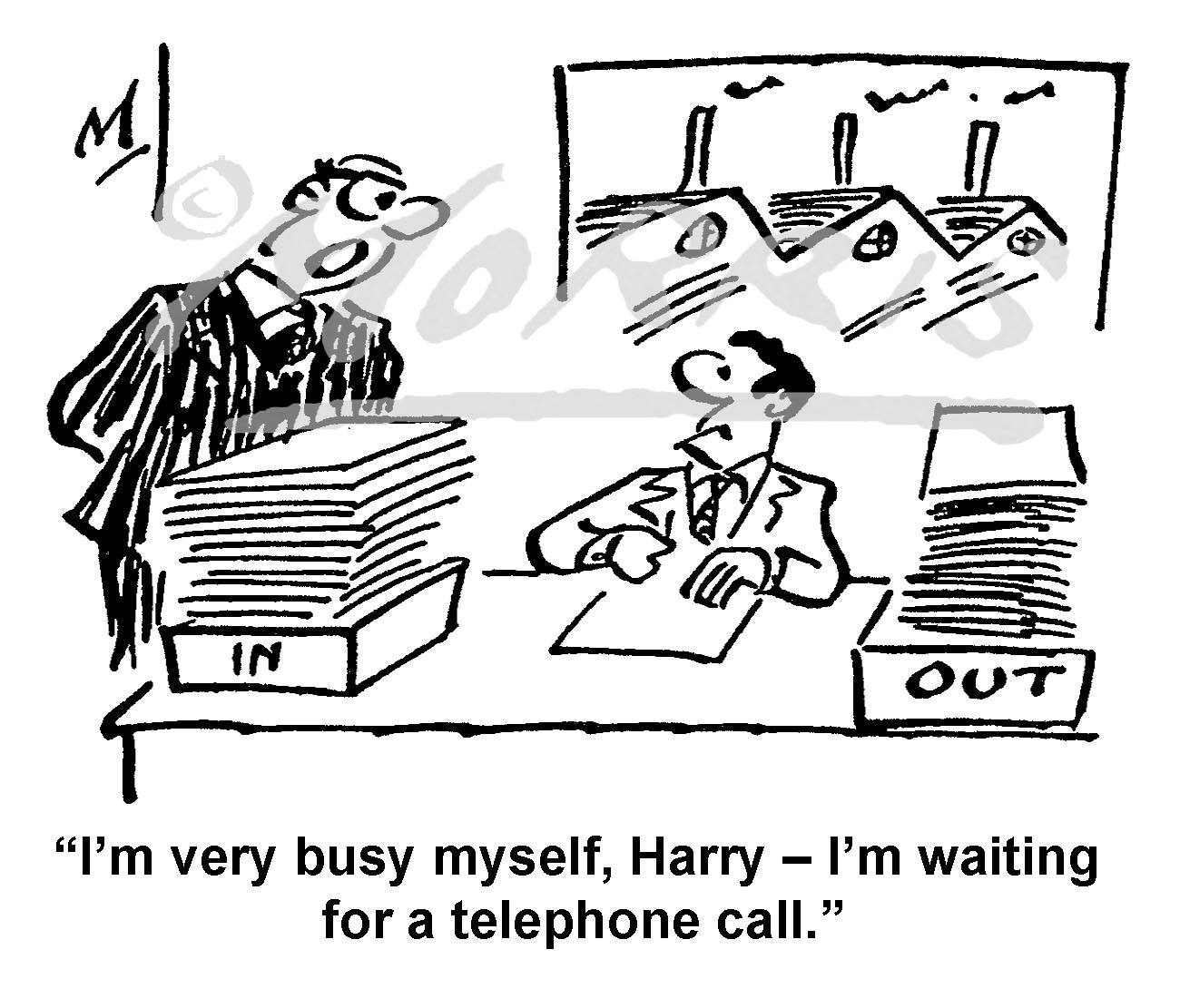 Office boss business cartoon – Ref: 7604bw