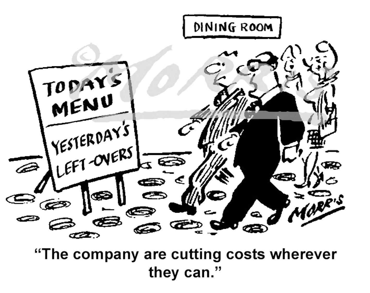 Company cost-saving comic cartoon – Ref: 7621bw