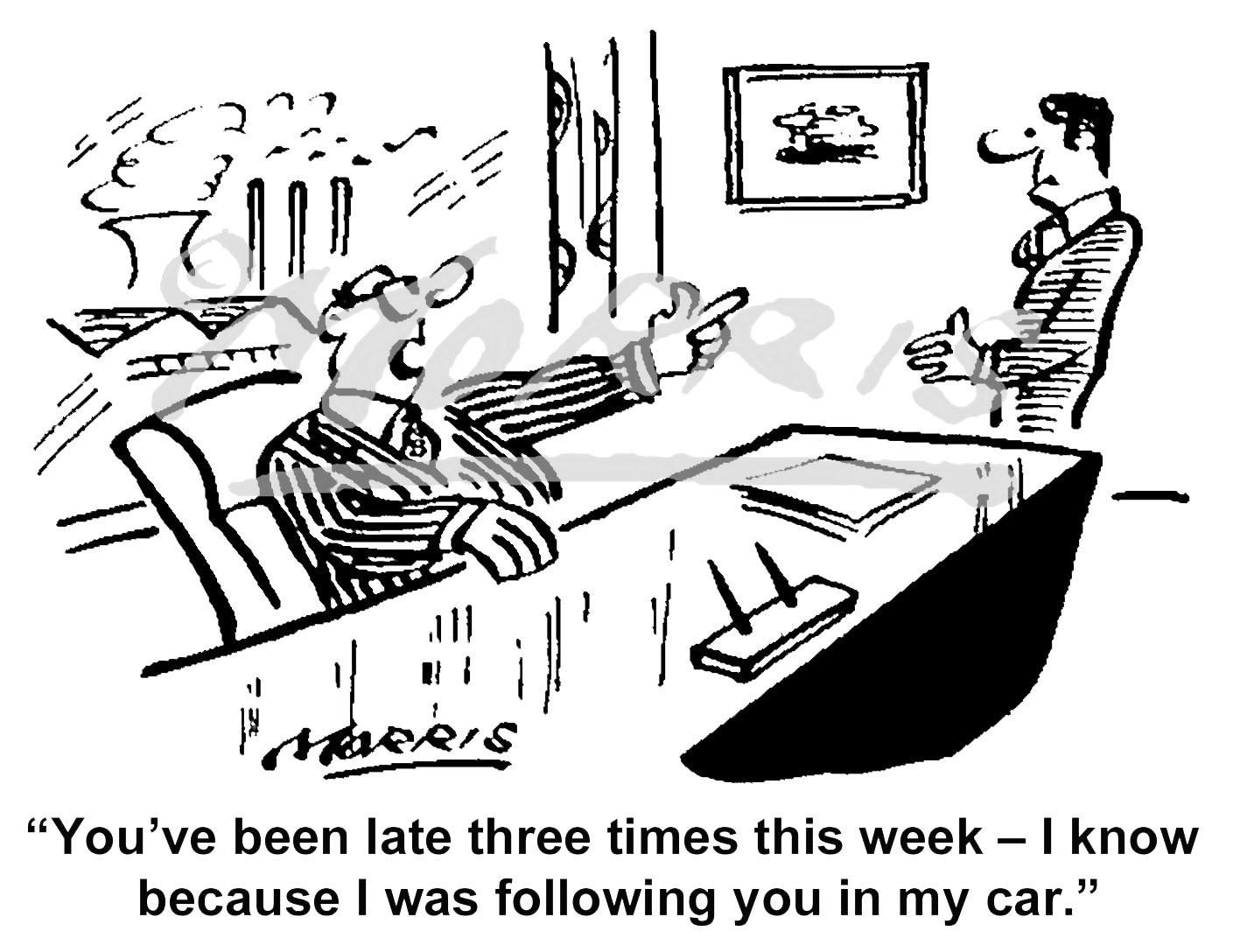 Employee time-keeping cartoon – Ref: 7623bw