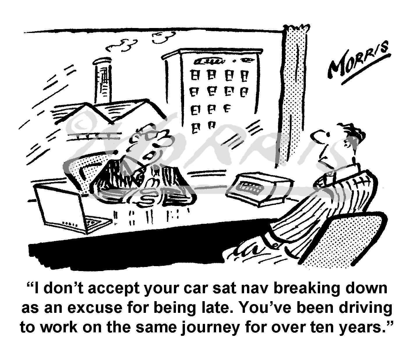 Employee lateness comic cartoon – Ref: 7668bw