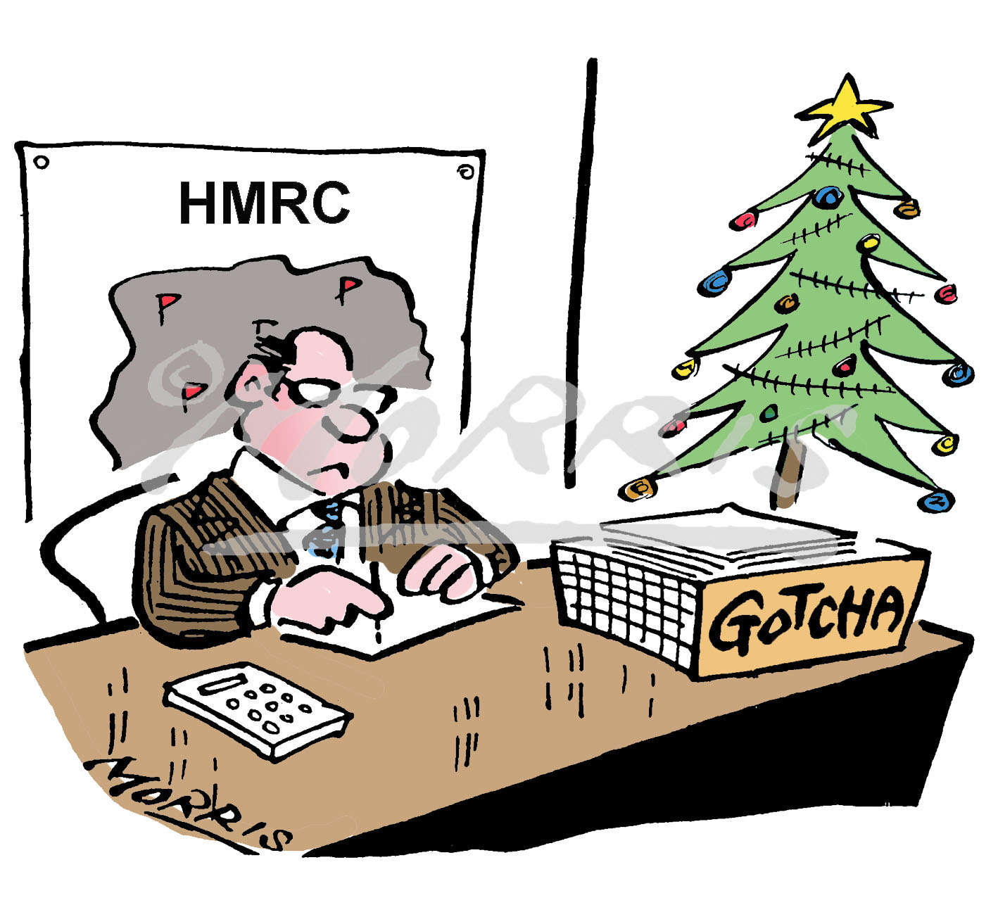 Christmas tax HMRC cartoon – Ref: 7701col