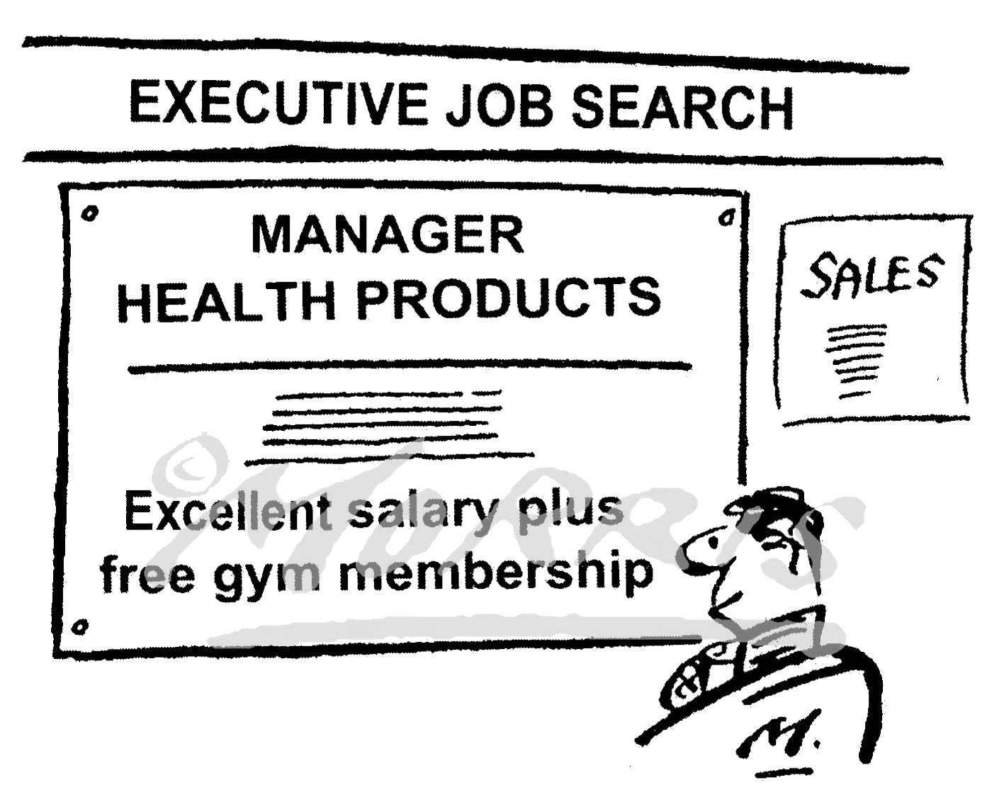 Executive job cartoon, job search cartoon – Ref: 7944bw