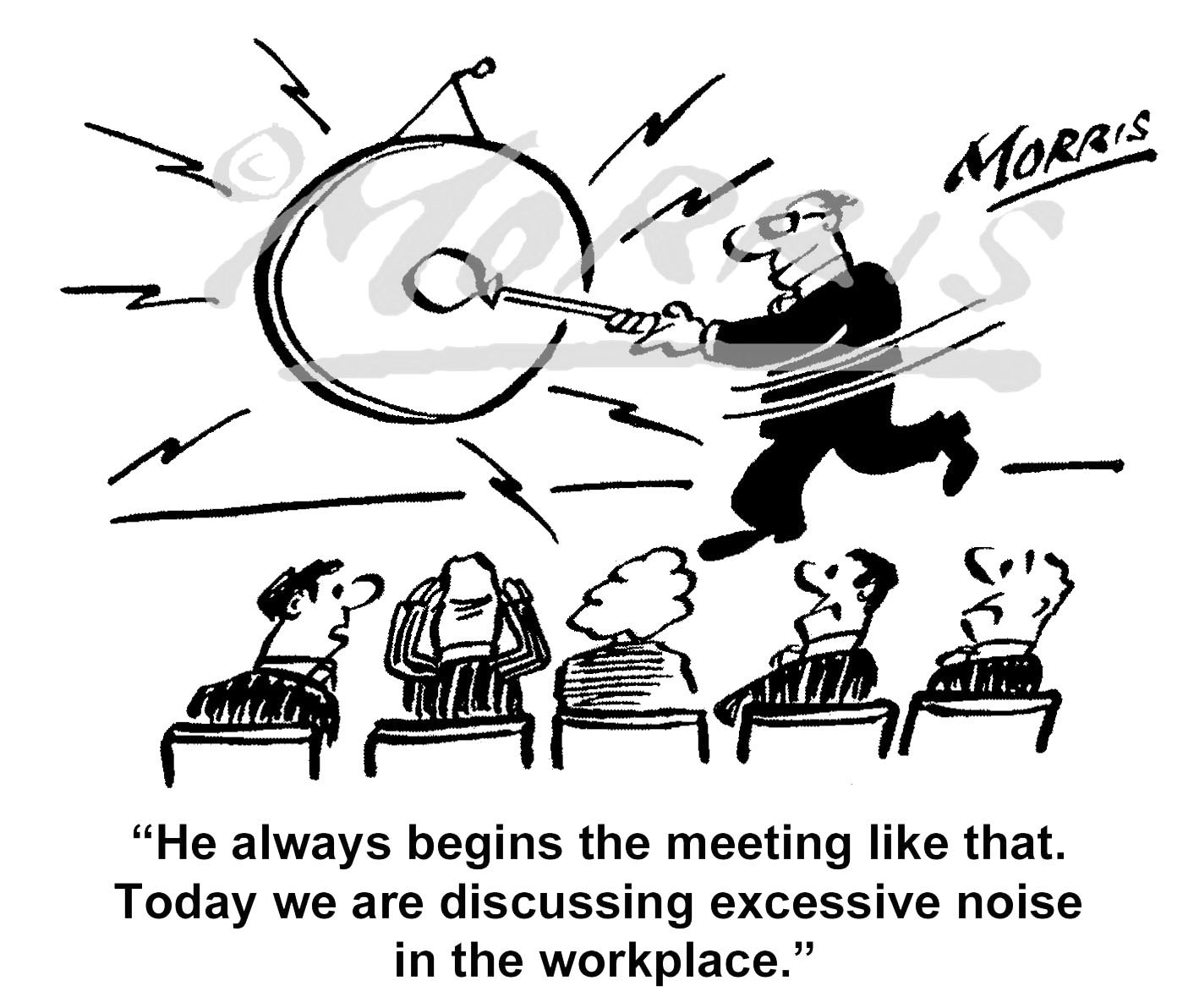 Office staff meeting cartoon – Ref: 7989bw