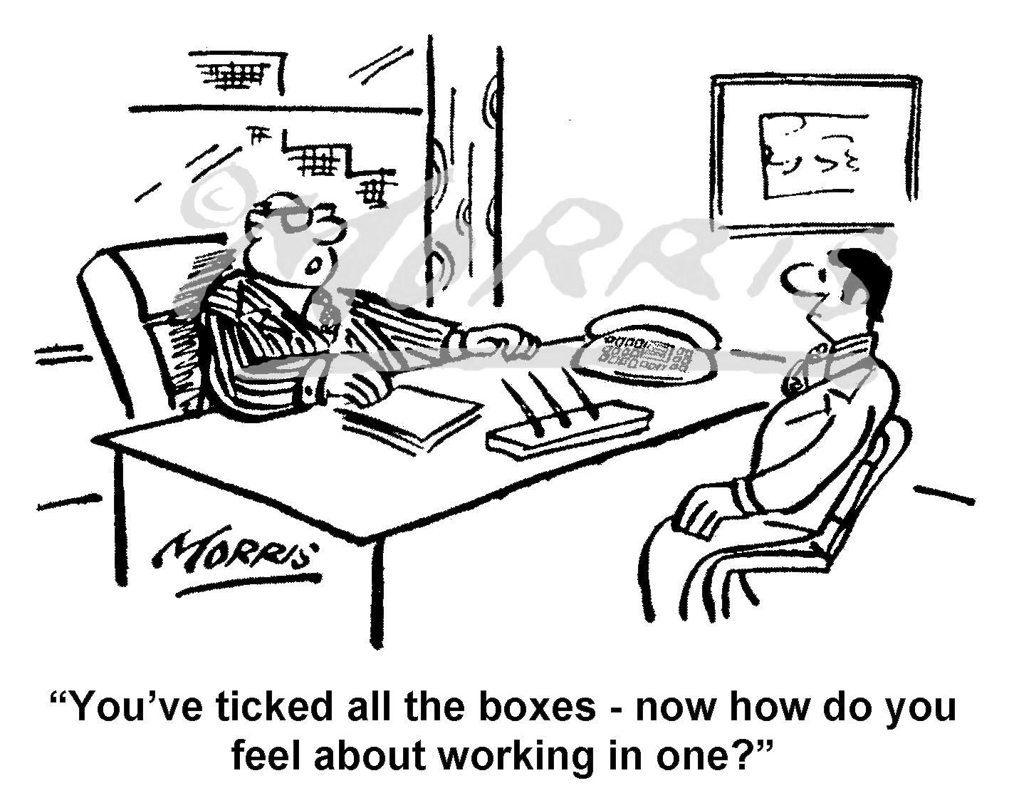 Office job interview cartoon – Ref: 8099bw