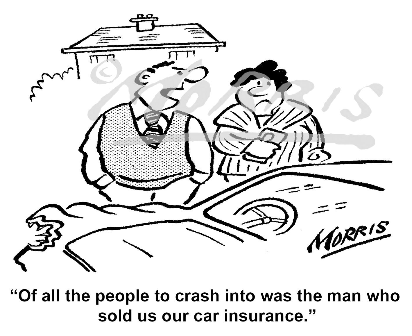 Car insurance business cartoon – Ref: 8112bw