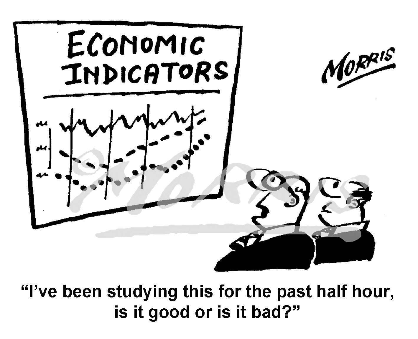 Graph cartoon showing 'Economic Indicators' – Ref: 8291bw