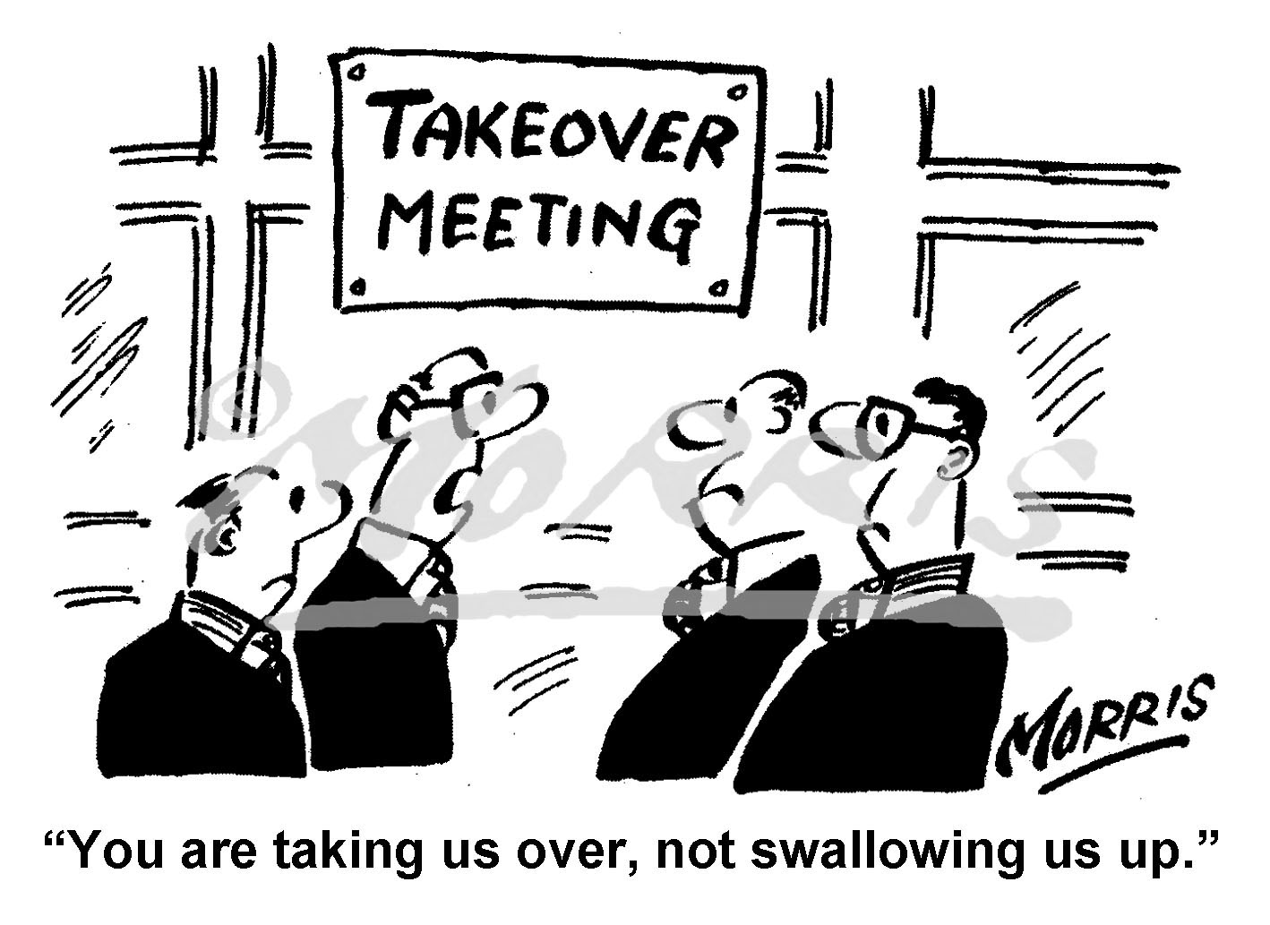Boardroom takeover cartoon – Ref: 8293bw