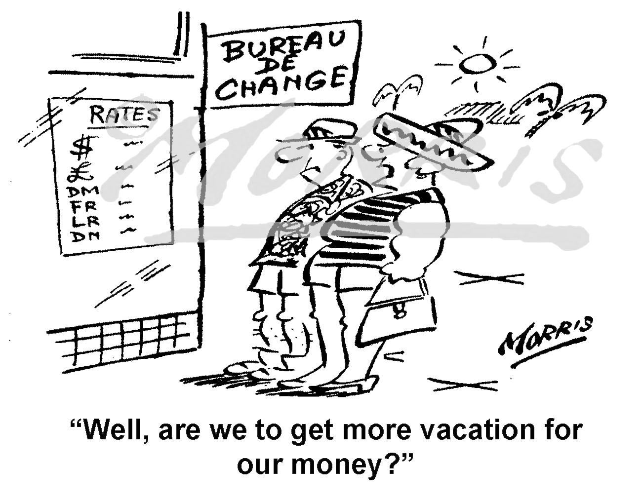 Money exchange rate comic cartoon – Ref: 8312bw