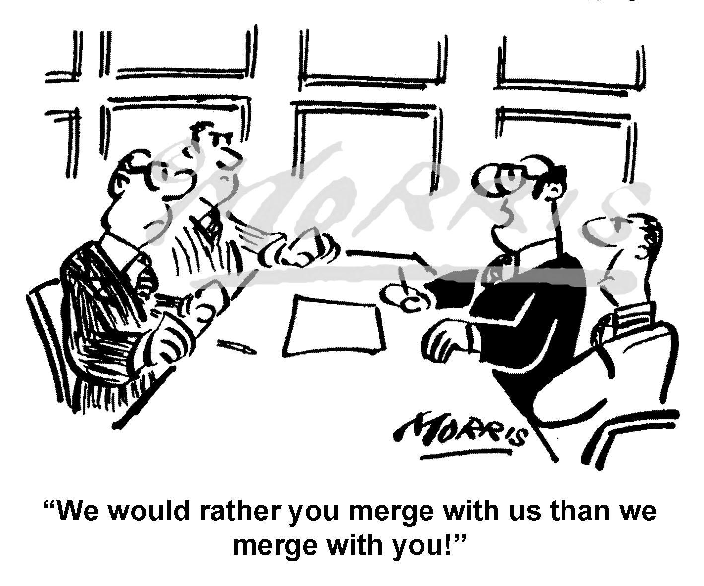 Business merger cartoon Ref: 8330bw | Business cartoons