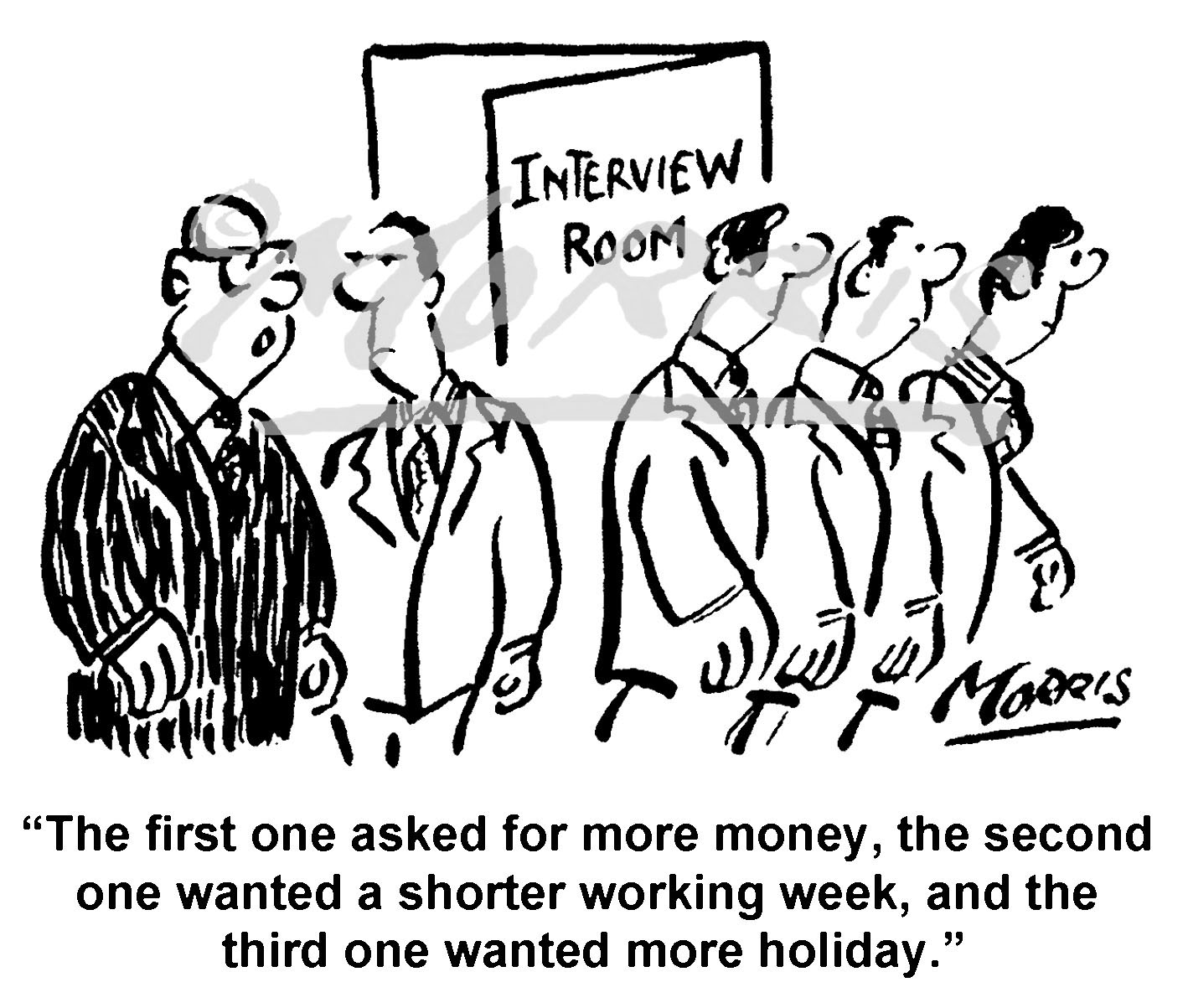 Job interview business cartoons – Ref: 8345bw