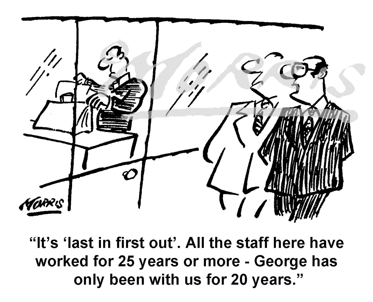 Company staff redundancy policy cartoon – Ref: 8357bw