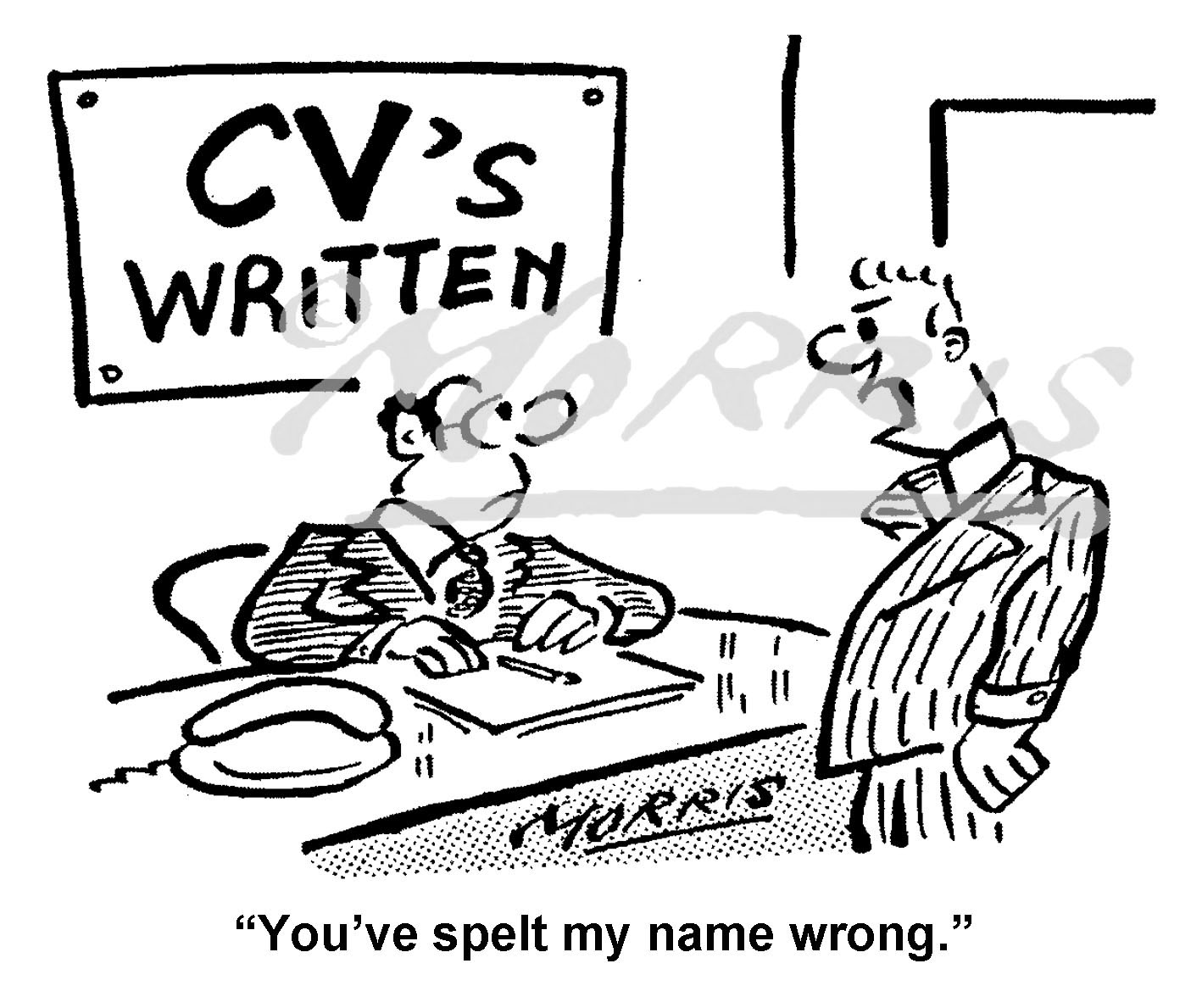 CV cartoon, resume cartoon – Ref: 8385bw
