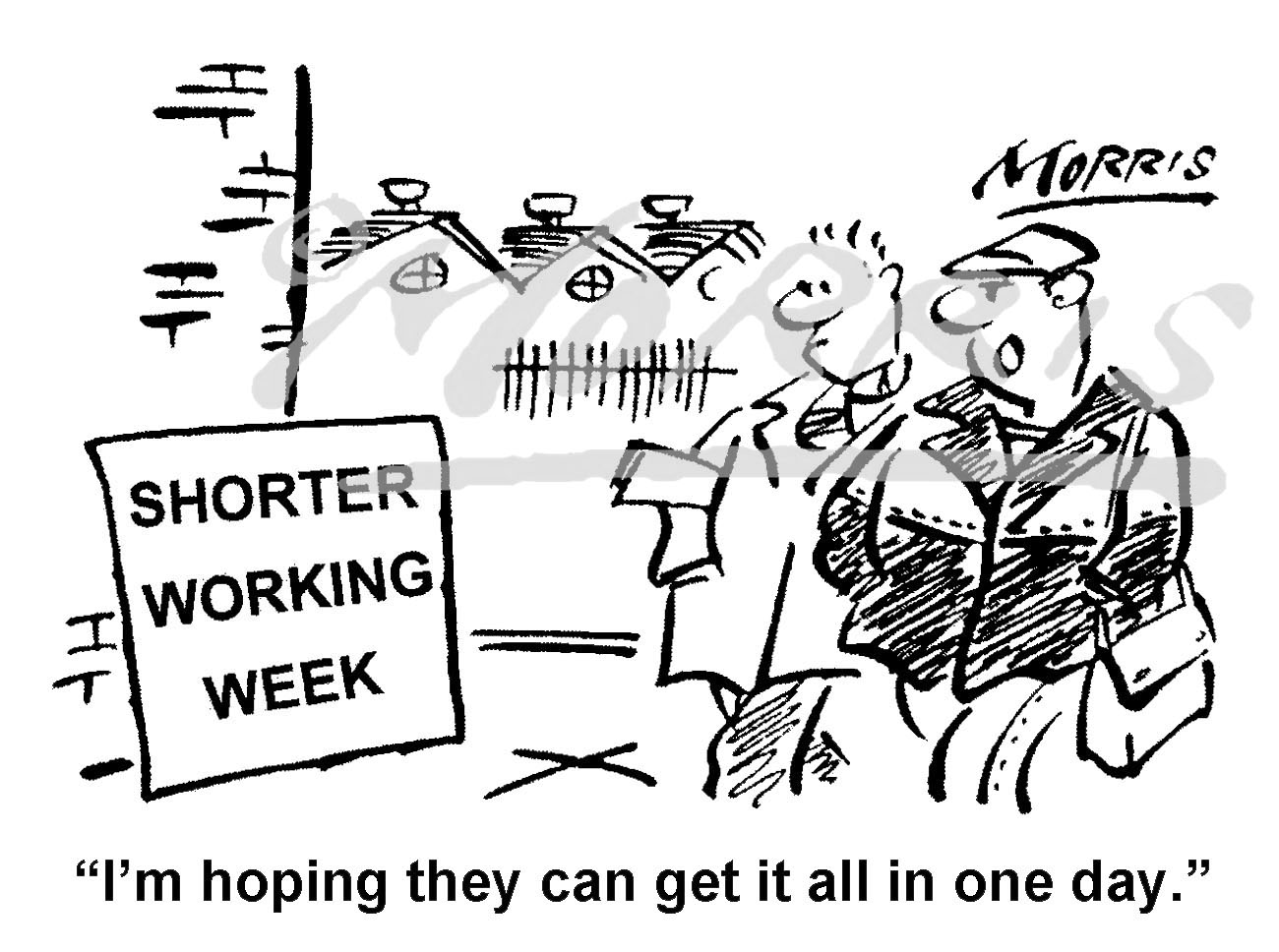 Shorter working hours cartoon – Ref: 8417bw