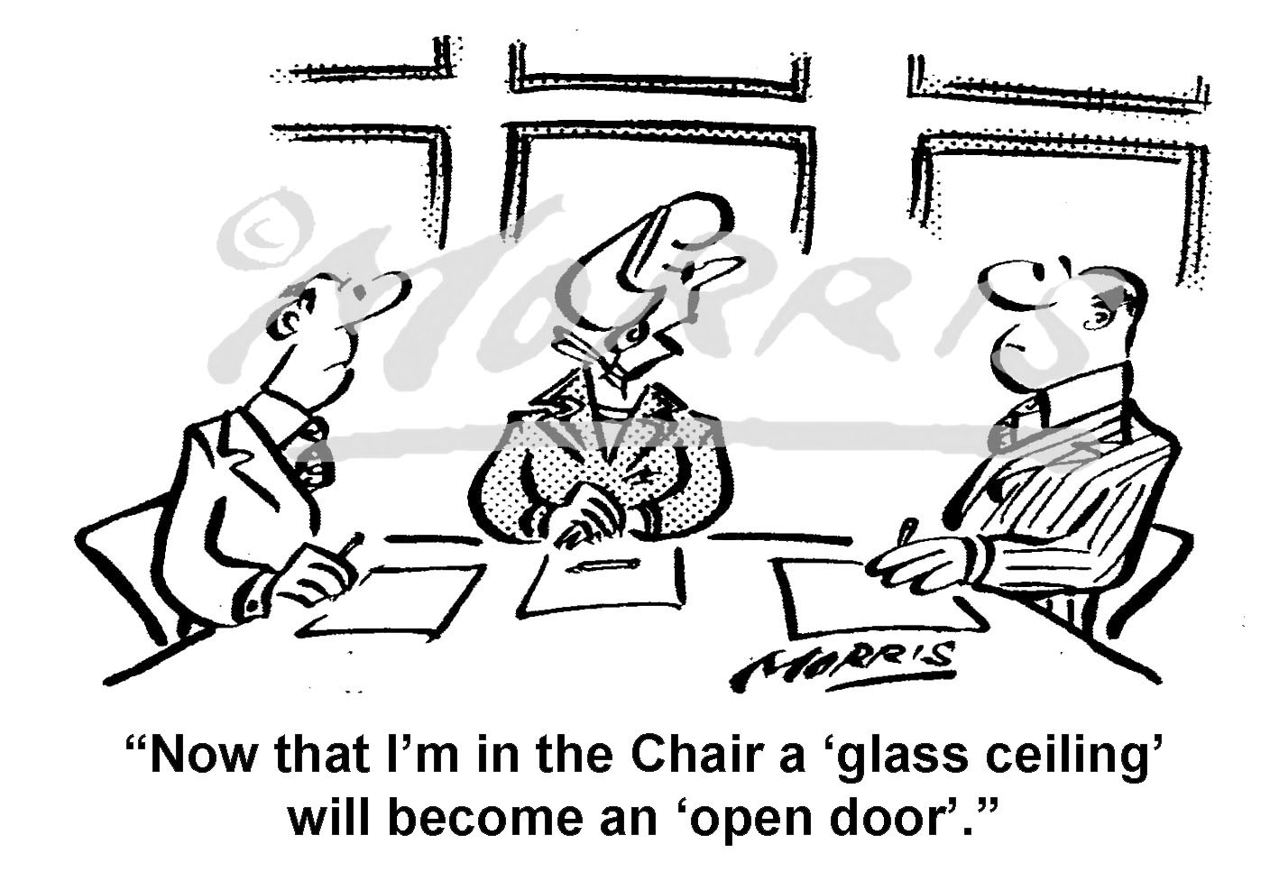 Glass ceiling cartoon, boardroom cartoon – Ref: 8464bw