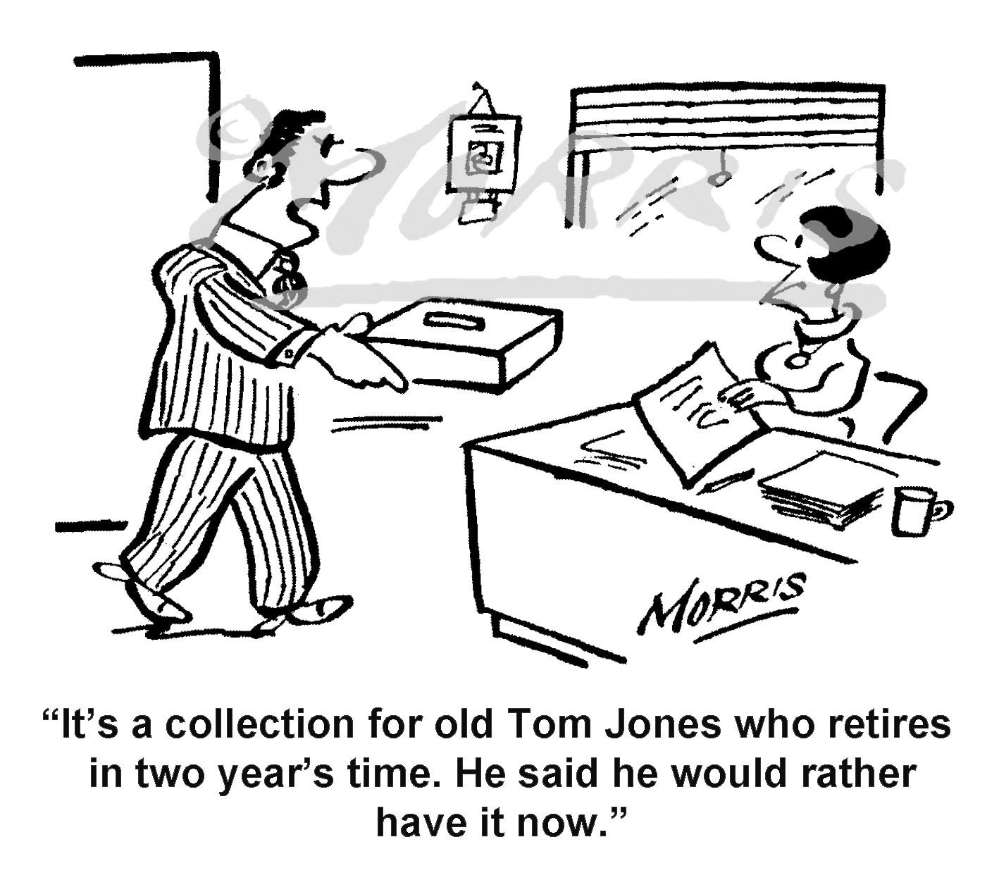 Retirement collection cartoon – Ref: 8477bw