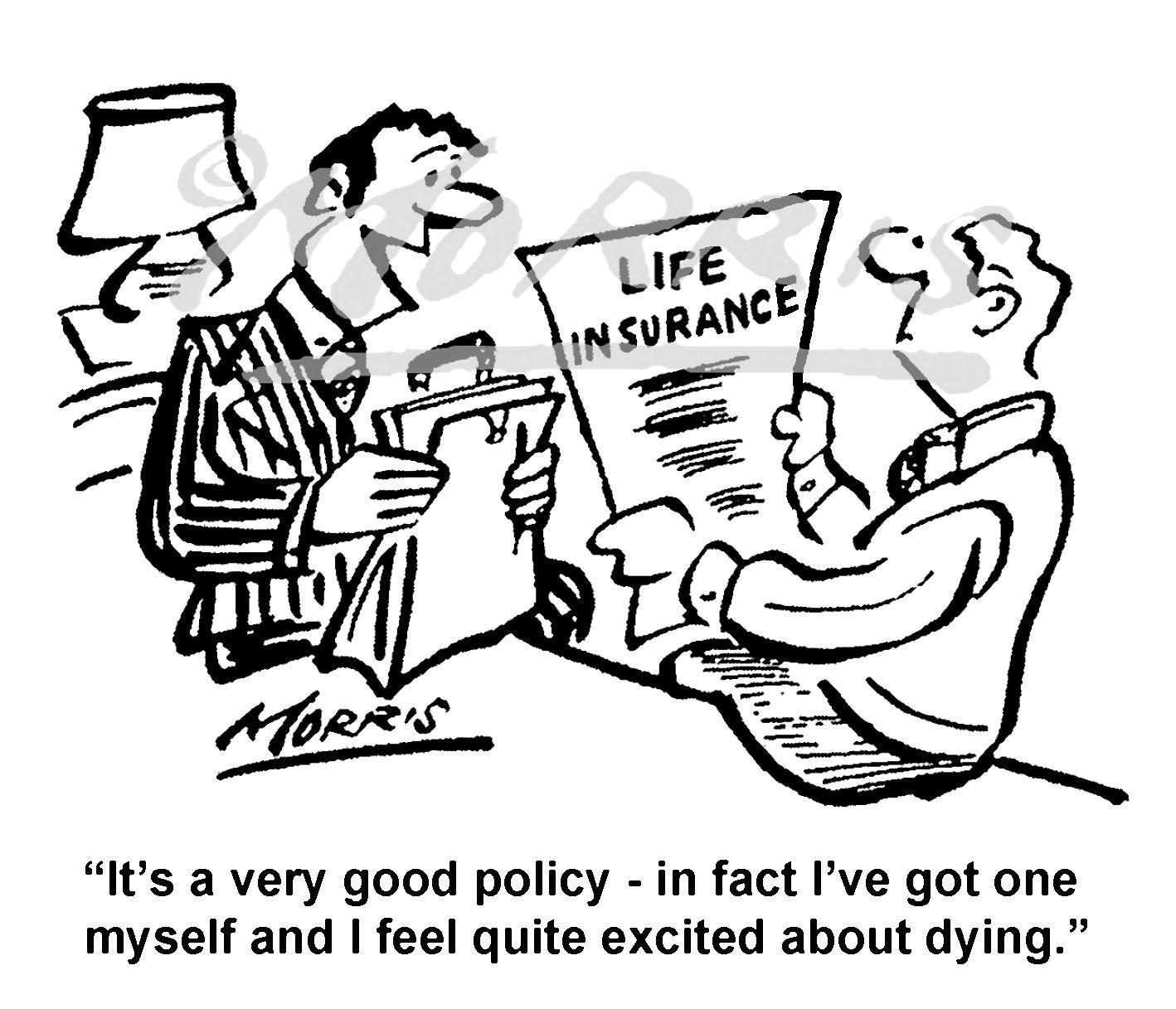 Life insurance cartoon Ref: 8573bw