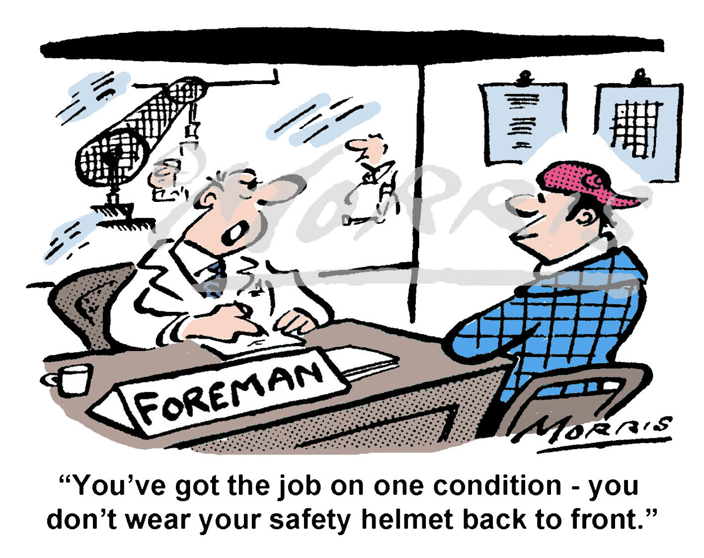 Job interview cartoon, Health & Safety cartoon – Ref: 8588col