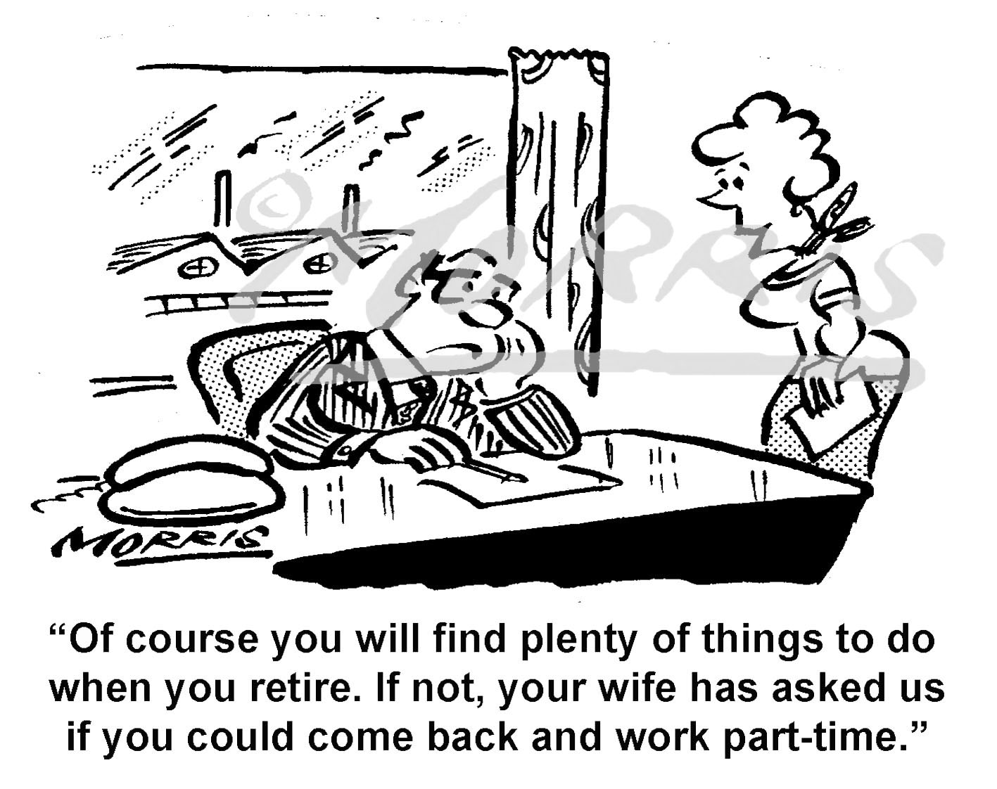 Retirement cartoon, retirerment comic Ref: 8603bw