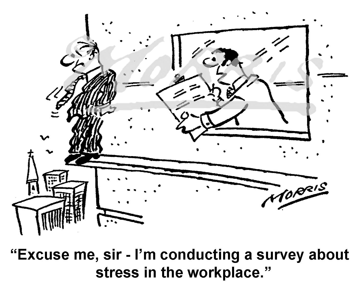 Stress cartoon, Workplace cartoon, Management stress cartoon – Ref: 8608bw