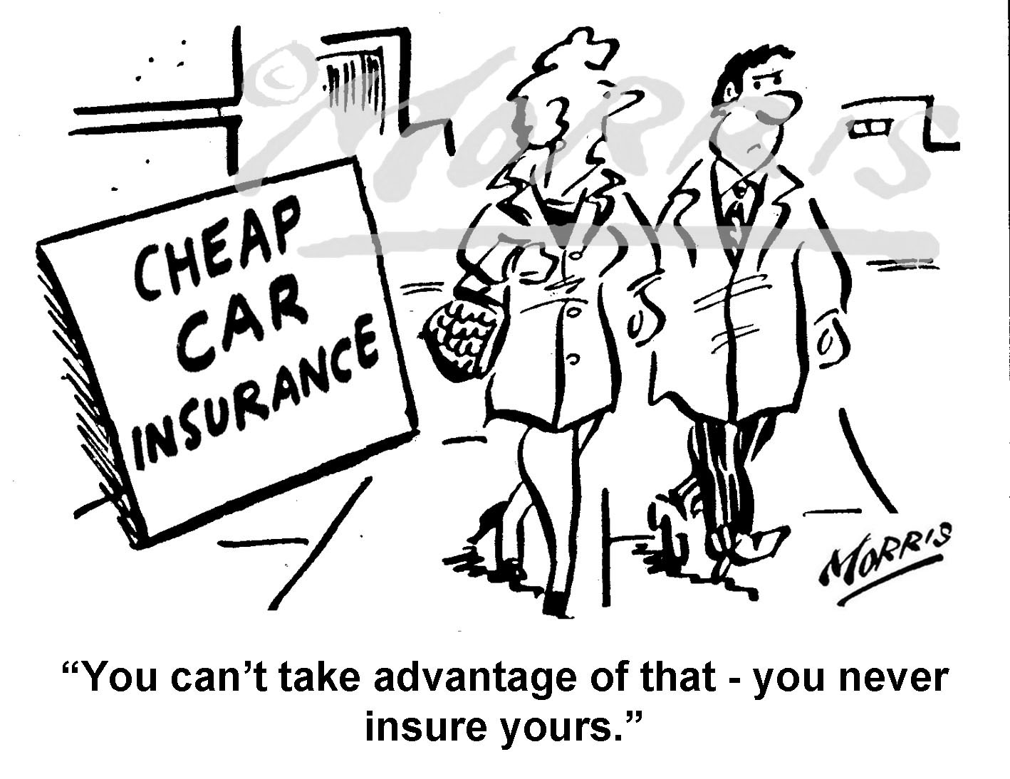 Car motor vehicle insurance cartoon Ref: 8609bw
