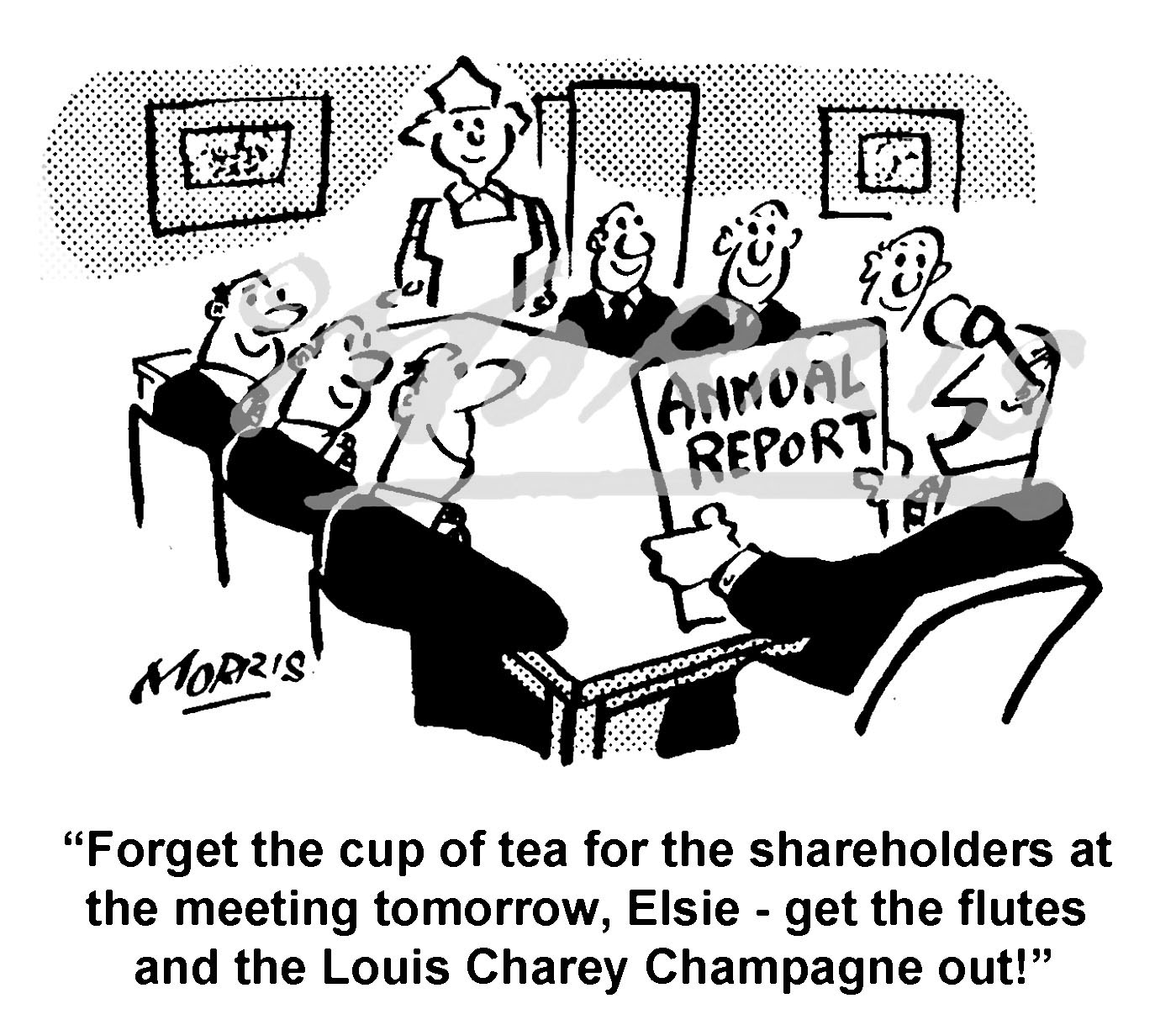 Boardroom meeting cartoon,  shareholders report cartoon Ref: 8611bw